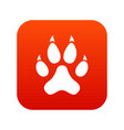 cat paw icon digital red vector image