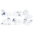 Sketch Sleeping Kids Set vector image