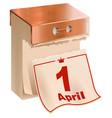 1 april fools day tear-off calendar sheet vector image