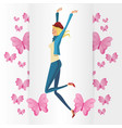 funny girl blonde with pink butterfly vector image