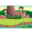 Two boys hiding at the tree vector image vector image
