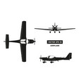 black silhouette of airplane on white background vector image vector image