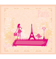 beautiful women silhouette Shopping in Paris - vector image vector image