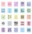 big data set black icon on color sticker vector image