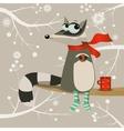 cute cartoon racoon vector image