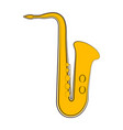 isolated saxophone sketch musical instrument vector image