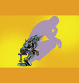robot thinker with the shadow of a man vector image