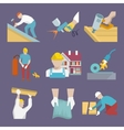 Roofer icons flat vector image