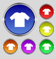 t-shirt icon sign Round symbol on bright colourful vector image