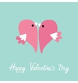 Two flying pink birds in shape of half heart Cute vector image