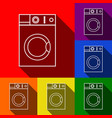 washing machine sign set of icons with vector image