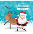 christmas happy and reindeer snowflake blue vector image