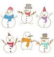 Doodle of snowman set vector image