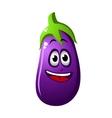 Purple cartoon eggplant vegetable or brinjal vector image