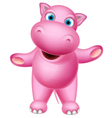 cute baby hippo cartoon standing vector image vector image