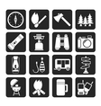 Silhouette travel and Tourism icons vector image