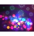 Bokeh effect christmas background with snowflakes vector image