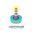 isolated isometric lighthouse icon vector image