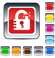 unlock square button vector image vector image