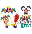 Fools cap smile on spring Funny glasses nose vector image