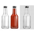 bottle containers with black lids vector image