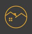 circle emblem golden house vector image