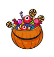 halloween pumpkin basket vector image