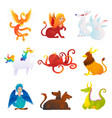 Mythical and fantastic creatures set vector image