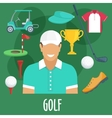 Golf sport profession equipment and outfit vector image