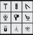 Set of 9 editable tonsorial artist icons includes vector image