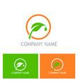 green leaf symbol company logo vector image