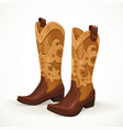 Embroidered cowboy boots isolated on white vector image