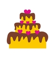 Valentine Day cake flat icon vector image