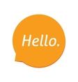 Hello icon white greeting text on orange vector image