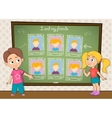 Yearbook for school with boy  girl and chalkboard vector image