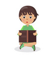 Boy sits in yoga pose with open book and read vector image