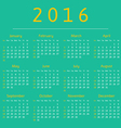 Calendar 2016 year week starts with sunday vector image