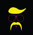 face with mustache color vector image