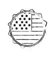 figure emblem with flag of usa inside vector image