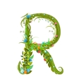 Letter R floral latin decorative character vector image