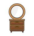 nightstand bedroom with mirror vector image
