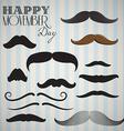 Retro Vintage mustache set for happy movember day vector image