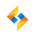 S shape geometry technology logo vector image