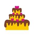 Valentine Day cake flat icon vector image