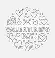 valentines day round symbol - outline vector image