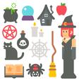 Flat design witch item set vector image