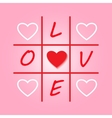 Valentines day original card with tic-tac-toe vector image
