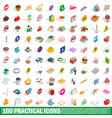 100 practical icons set isometric 3d style vector image
