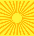 Yellow sun with orange rays vector image
