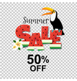 summer sale poster with toucan vector image